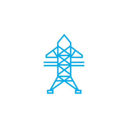 High-voltage networks line icon, vector illustration. High-voltage networks linear concept sign.