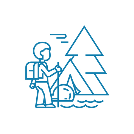 Hiking in the mountains line icon, vector illustration. Hiking in the mountains linear concept sign. Stock Vector - 101919335