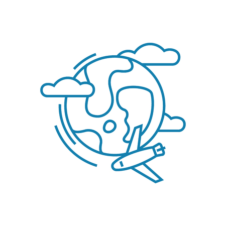 Intercontinental flight line icon, vector illustration. Intercontinental flight linear concept sign.