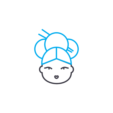Japanese woman line icon, vector illustration. Japanese woman linear concept sign.
