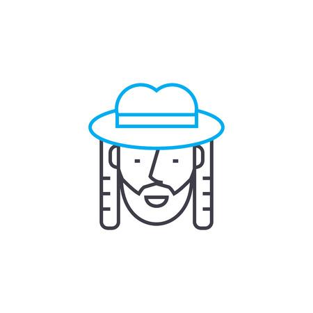 Jew line icon, vector illustration. Jew linear concept sign.