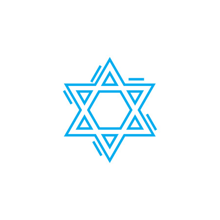 Jewish symbol line icon, vector illustration. Jewish symbol linear concept sign.