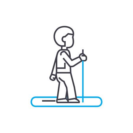 Jogging line icon, vector illustration. Jogging linear concept sign.
