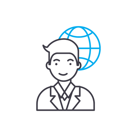International corporation employee line icon, vector illustration. International corporation employee linear concept sign.