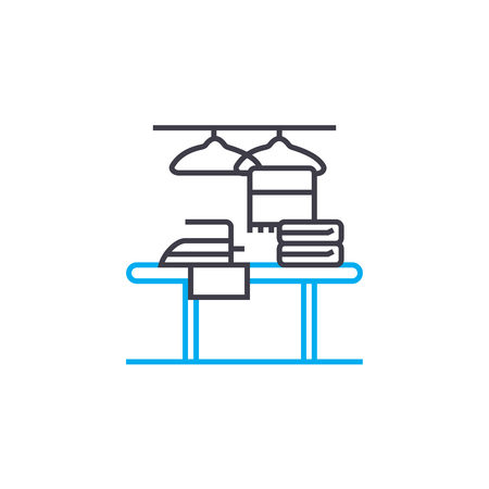 Ironing clothes line icon, vector illustration. Ironing clothes linear concept sign.