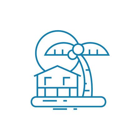 Island resort line icon, vector illustration. Island resort linear concept sign.  イラスト・ベクター素材