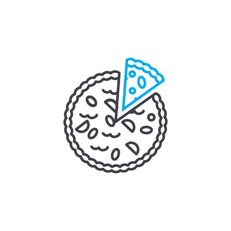 Italian pizza line icon, vector illustration. Italian pizza linear concept sign.