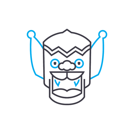 Indian mask line icon, vector illustration. Indian mask linear concept sign. Illustration