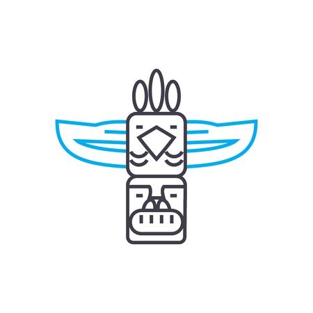Indian totem line icon, vector illustration. Indian totem linear concept sign. Иллюстрация