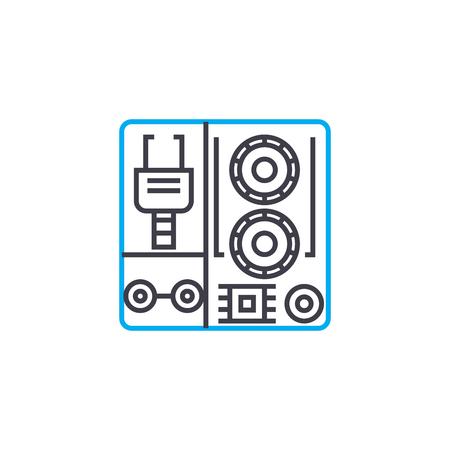 Industrial equipment line icon, vector illustration. Industrial equipment linear concept sign.