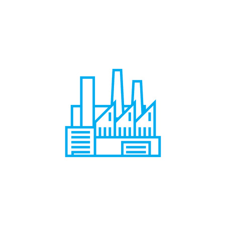 Industrial facility line icon, vector illustration. Industrial facility linear concept sign.