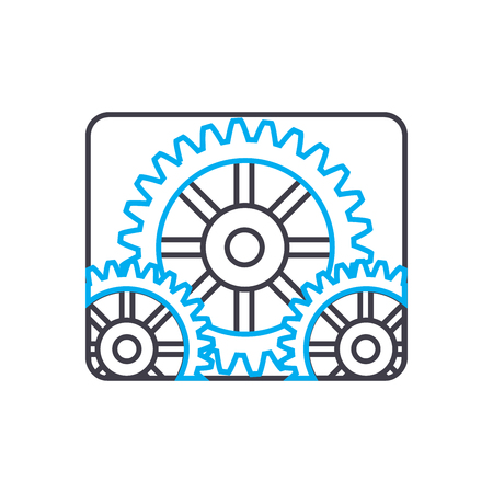Industrial production line icon, vector illustration. Industrial production linear concept sign.