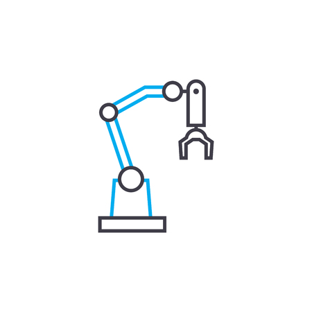 Industrial robot line icon, vector illustration. Industrial robot linear concept sign.