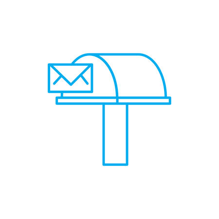 Incoming correspondence line icon, vector illustration. Incoming correspondence linear concept sign.