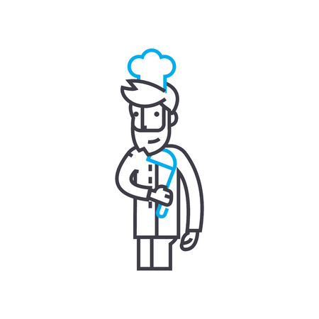 Kitchen manager line icon, vector illustration. Kitchen manager linear concept sign.
