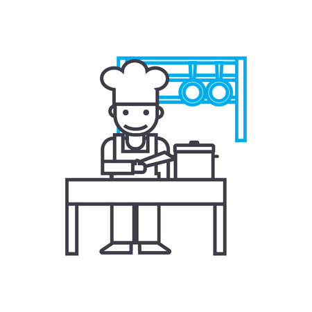 Kitchen staff line icon, vector illustration. Kitchen staff linear concept sign.