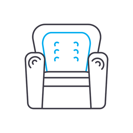 Leather chair line icon, vector illustration. Leather chair linear concept sign.