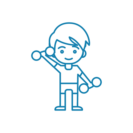 Lifting dumbbells line icon, vector illustration. Lifting dumbbells linear concept sign.