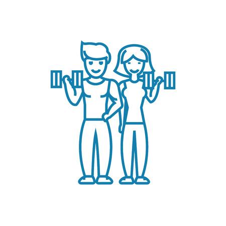 Gezamenlijke sport activiteit lijn pictogram, vectorillustratie. Gezamenlijke sportactiviteit lineaire concept teken.