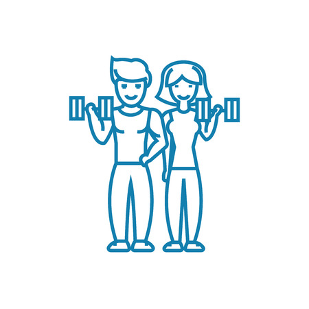 Joint sports activity line icon, vector illustration. Joint sports activity linear concept sign. Illustration