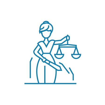Justice system line icon, vector illustration. Justice system linear concept sign. Vectores