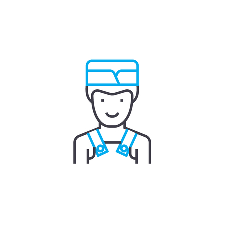 Kitchen assistant line icon, vector illustration. Kitchen assistant linear concept sign. Banque d'images - 101913801