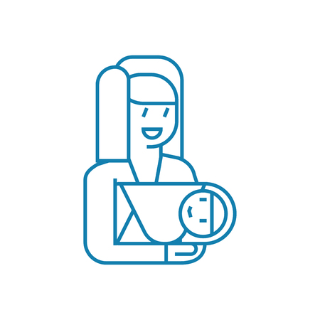 Lulling the baby line icon, vector illustration. Lulling the baby linear concept sign. Illustration