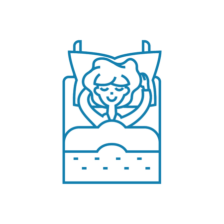 Lying in line icon, vector illustration. Lying in linear concept sign. 向量圖像