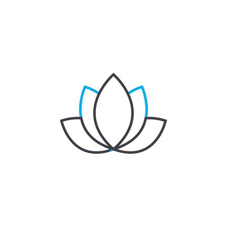 Icône de ligne Lotus, illustration vectorielle. Signe de concept linéaire Lotus.