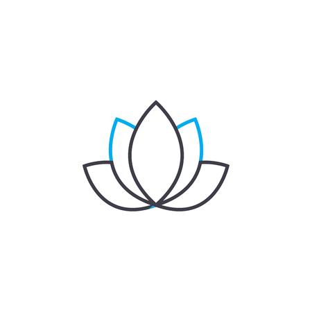 Lotus line icon, vector illustration. Lotus linear concept sign. Vettoriali