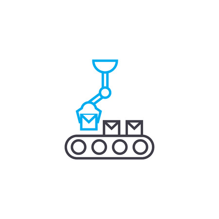 Loading on the conveyor line icon, vector illustration. Loading on the conveyor linear concept sign.