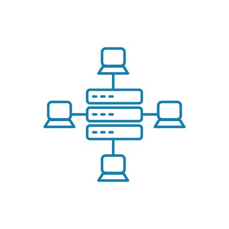Lokales Netzwerkliniensymbol, Vektorillustration. Lineares Konzeptzeichen des lokalen Netzwerks.