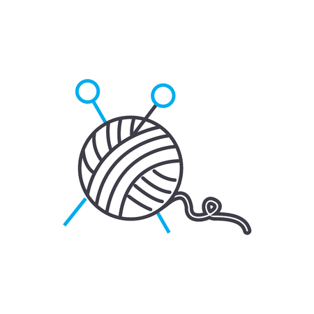 Knitting line icon, vector illustration. Knitting linear concept sign. Ilustracja