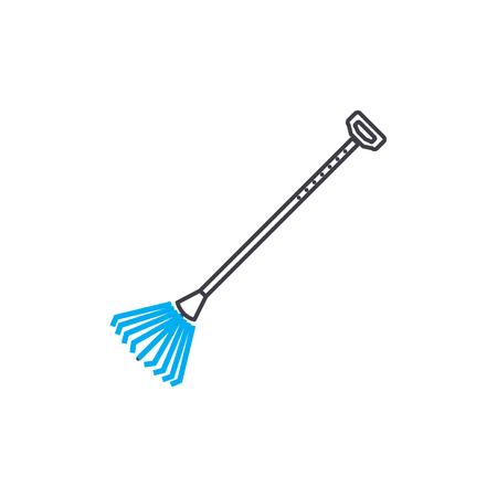 Lawn rake line icon, vector illustration. Lawn rake linear concept sign.