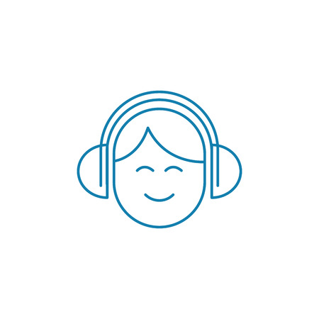 Listening music in headphones line icon, vector illustration. Listening music in headphones linear concept sign. Illustration