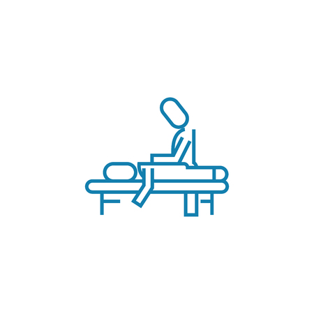 Massage session line icon, vector illustration. Massage session linear concept sign. Standard-Bild - 101913812