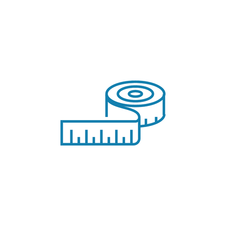 Measuring-tape line icon, vector illustration. Measuring-tape linear concept sign.