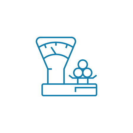 Mechanic scales line icon, vector illustration. Mechanic scales linear concept sign.
