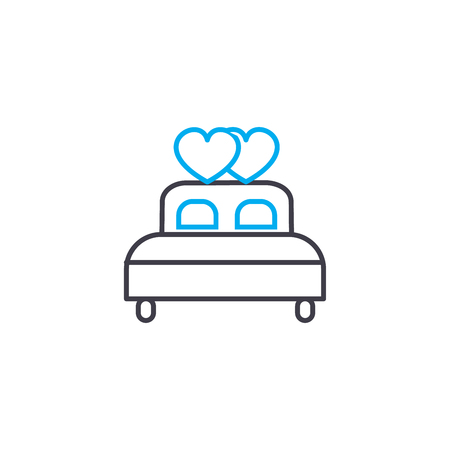 Marital bed line icon, vector illustration. Marital bed linear concept sign.