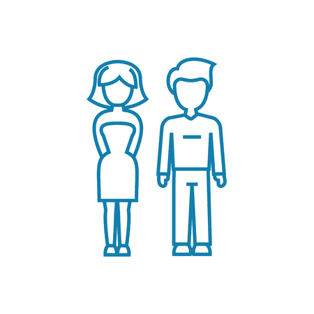 Marital relationship line icon, vector illustration. Marital relationship linear concept sign.