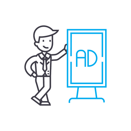Marketing manager line icon, vector illustration. Marketing manager linear concept sign. 向量圖像