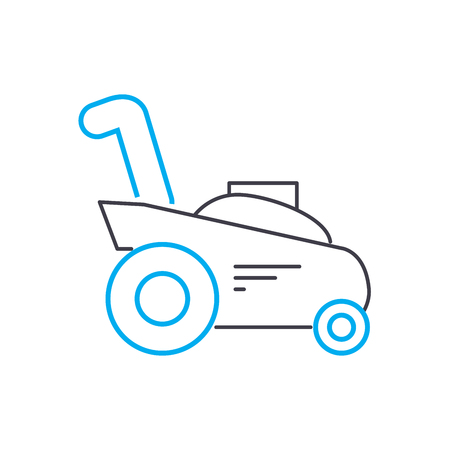 Mowing grass line icon, vector illustration. Mowing grass linear concept sign.