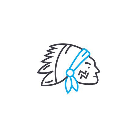 Native amerikan line icon, vector illustration. Native amerikan linear concept sign.