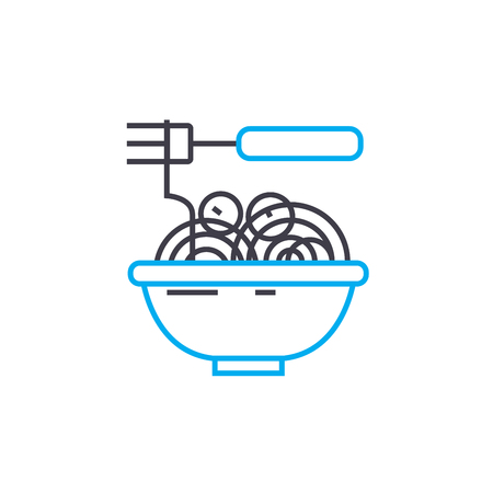 Noodles line icon, vector illustration. Noodles linear concept sign. Standard-Bild - 101965117