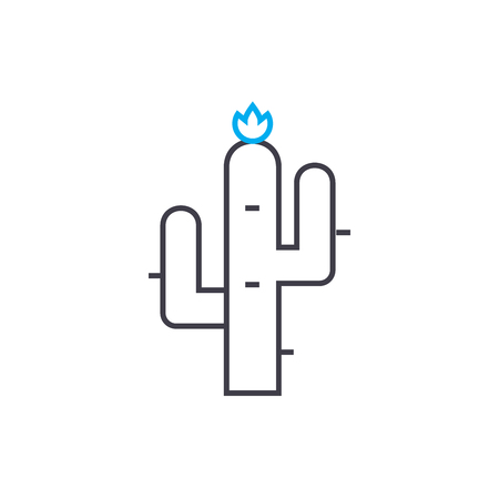 North american cactus line icon, vector illustration. North american cactus linear concept sign. Çizim