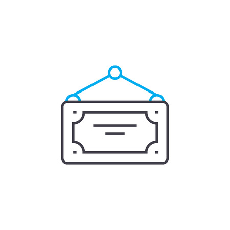 Nameplate line icon, vector illustration. Nameplate linear concept sign.