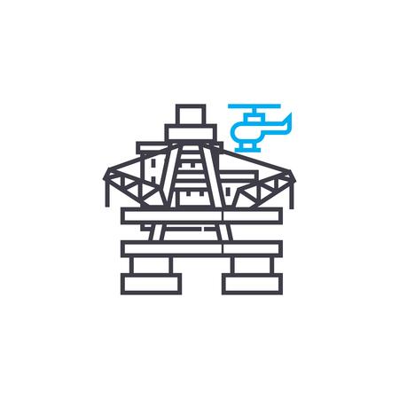 Oil platform line icon, vector illustration. Oil platform linear concept sign. Illustration