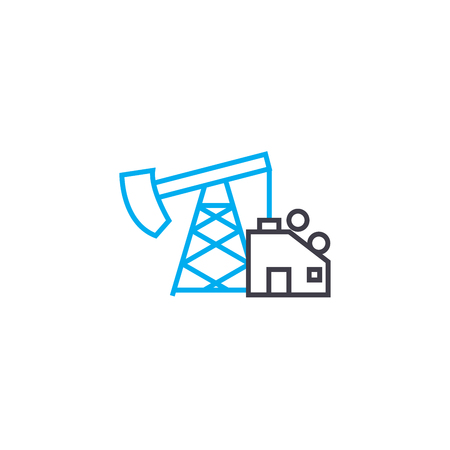 Oil production line icon, vector illustration. Oil production linear concept sign.