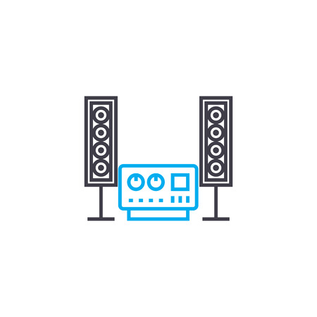 Music system line icon, vector illustration. Music system linear concept sign.