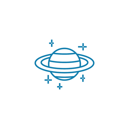 Observing planets line icon, vector illustration. Observing planets linear concept sign.